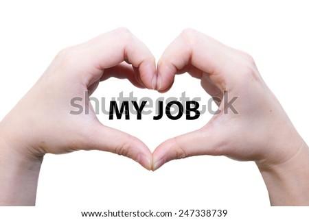 isolated female hand love my job - stock photo