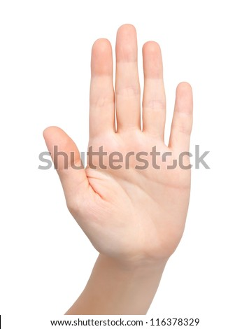isolated female hand showing stop - stock photo