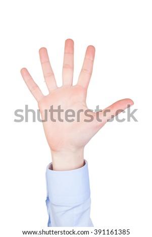 isolated female hand showing symbol - stock photo