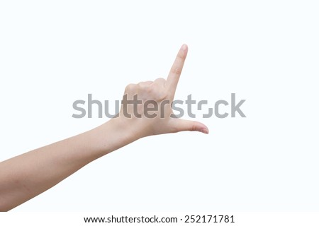 isolated female hand touching or pointing in white background - stock photo