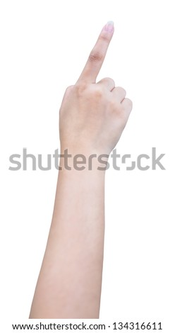 isolated female hand touching or pointing to something with clipping path - stock photo