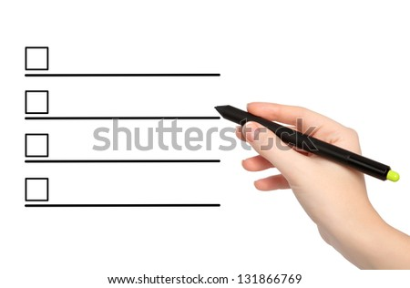 isolated female hand with pencil draws something - stock photo