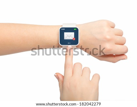 Isolated female hand with white smartwatch with email on the screen - stock photo