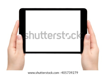 Isolated female hands hold mobile device on a white background. - stock photo
