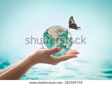 Isolated female hands holding green planet with butterfly drinking water from globe on turquoise blue color water background : World oceans day csr concept: Element of this image furnished by NASA   - stock photo