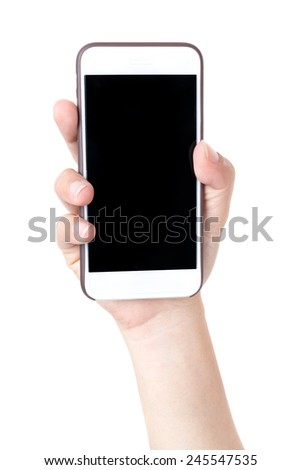 Isolated female hands holding the phone  - stock photo