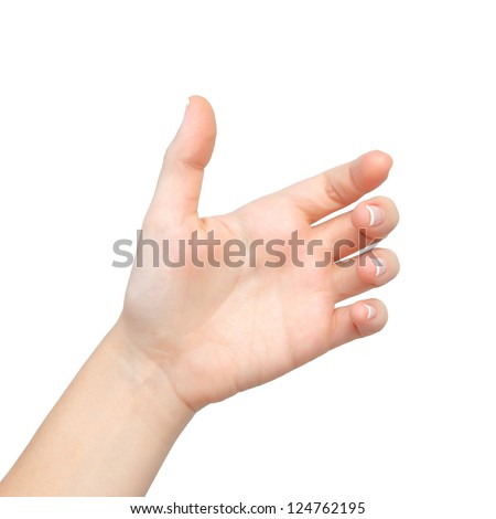 Isolated female hands palm held subject - stock photo