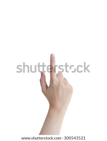 isolated female hands touch, click or pointing to something