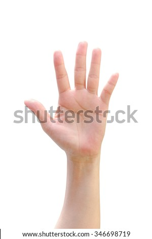 Isolated female woman human hand open palm raising up on white background expressing vote, volunteering, opinion, rights, participation, idea, offer, election, equality concept/ campaign/ awareness  - stock photo
