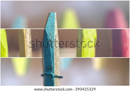 Isolated fence post with background - stock photo