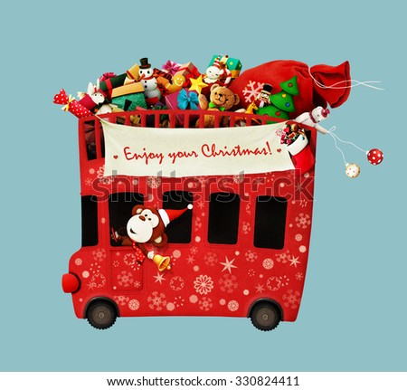 Isolated festive bus with gifts Christmas and a monkey. Computer graphics - stock photo