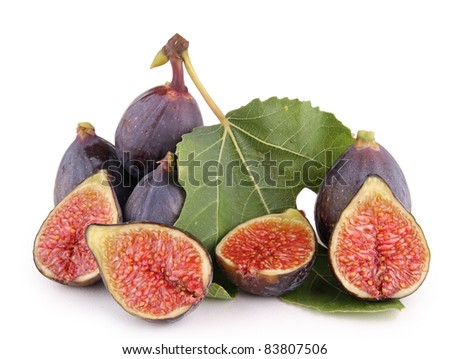 isolated figs and leaf on white background - stock photo