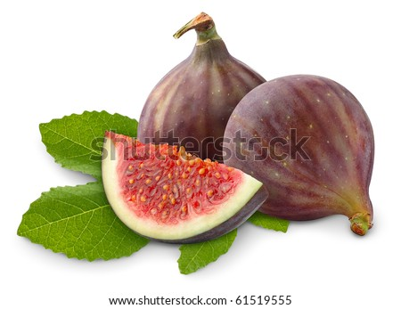 Isolated figs. Fresh fig fruits on leaf isolated on white background