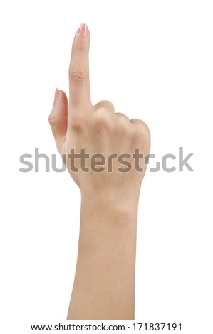Isolated finger pointing on white background