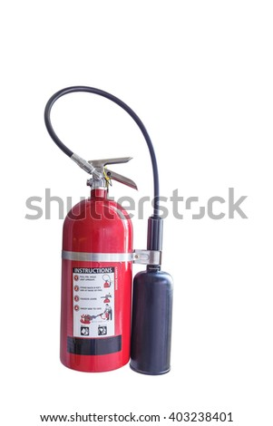 Isolated fire extinguisher on white with clipping path - stock photo