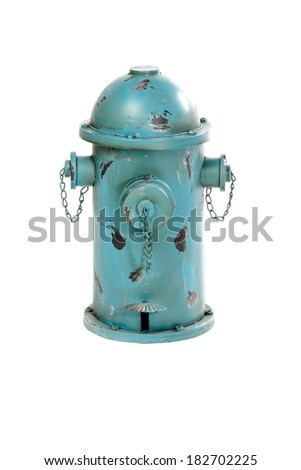 isolated fire hydrant used as trash can on white background
