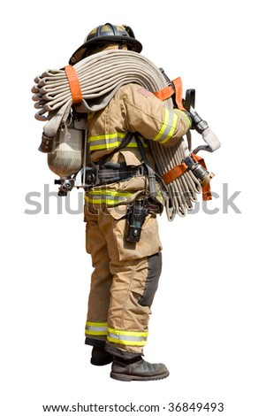 Isolated Fireman Standing with a Fire Hose - stock photo