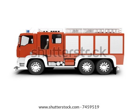 isolated firetruck on white background