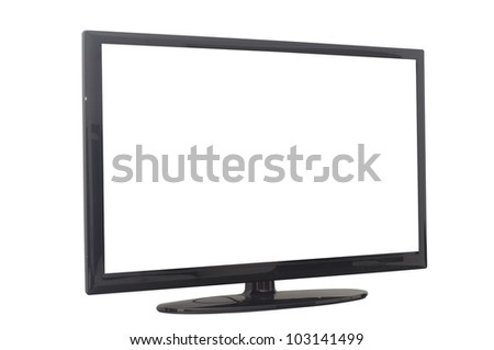 isolated flat screen tv or computer monitor, with 2 clipping path in jpg. One clipping path is tv outline, the other one is the screen. - stock photo