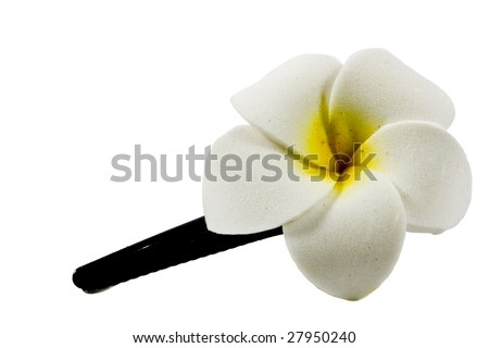 isolated flower shaped hair pin on white background - stock photo