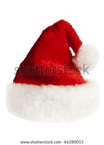 isolated fluffy red Santa`s hat over white - stock photo