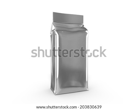 Isolated food bag (coffee bag) for use as a template - stock photo
