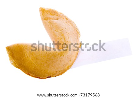 Isolated fortune cookie with a note. - stock photo