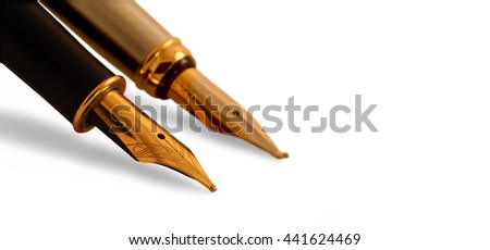 Isolated fountain pen on sheet of paper - stock photo