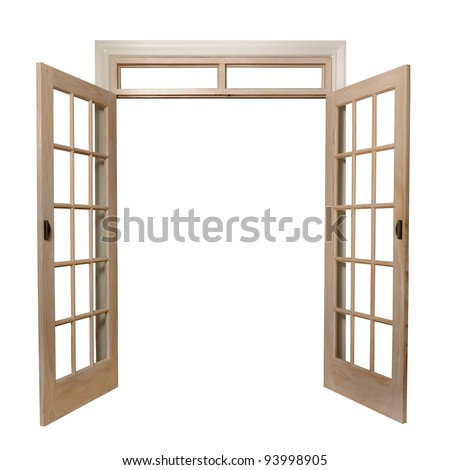 isolated french doors - stock photo