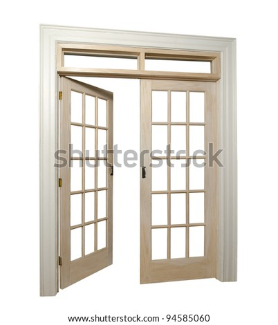 isolated french doors with one door open - stock photo