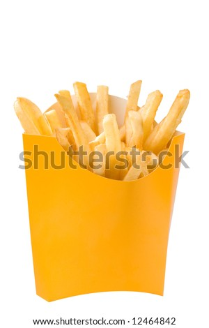 Isolated French fries in white box. big size - stock photo