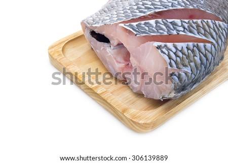 Isolated fresh Nile Tilapia fish on a white background - stock photo