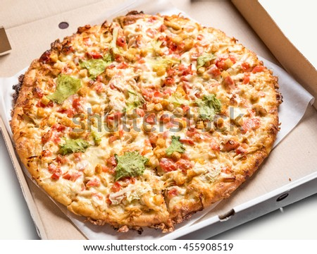 Isolated fresh pizza on white background. Delicious healthy snack with fresh vegetables and cheese. Hot meal with many ingridients. Unhealthy junk food. Street food. Italian cuisine. - stock photo