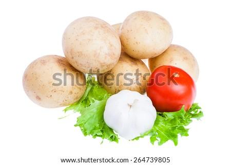 isolated fresh, tomato garlic and raw potato on white background - stock photo