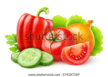 Isolated fresh vegetables. Cut tomato, cucumber slices, bell pepper, onion and leaf of lettuce isolated on white background with clipping path - stock photo