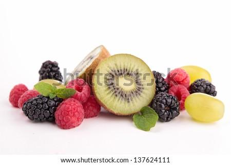 isolated fruits - stock photo