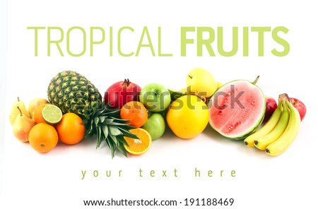 Isolated fruits. Fruits on white background. Tropical fruits. Citrus fruits. Ripe fruits, orange fruit, apple fruit. Summer fruits, fresh fruits. Fruits collection. Mixed fruits. Fruits collage.