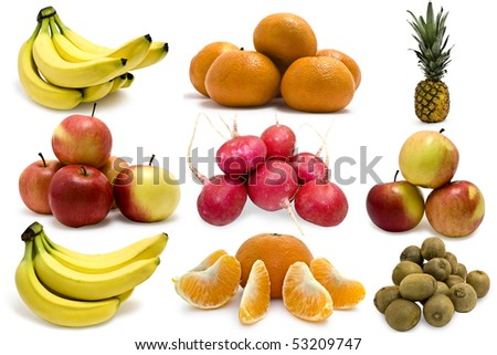isolated fruits on a white background