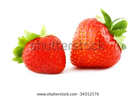 Isolated fruits - Strawberries on white background.