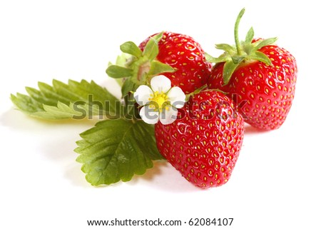Isolated fruits - Strawberries on white background - stock photo