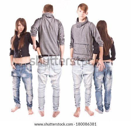 isolated full length portrait of couple from back and front
