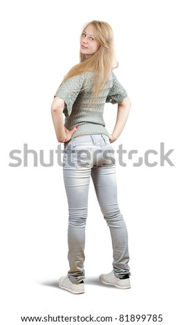 Isolated full length rear view of casualy dressed blonde girl - stock photo