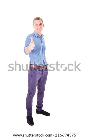 Isolated full-length smiling success businessman with thumb-up - stock photo