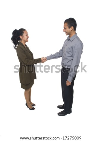 Isolated full length studio shot of a businessman and businesswoman shaking hands. - stock photo
