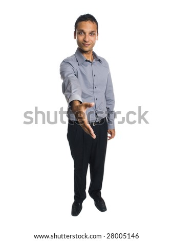 Isolated full length studio shot of a businessman reaching out to shake hands. - stock photo