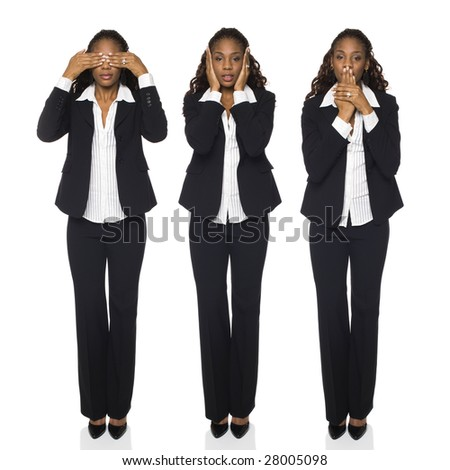 Isolated full length studio shot of a businesswoman in the See No Evil, Hear No Evil, Speak No Evil poses. - stock photo