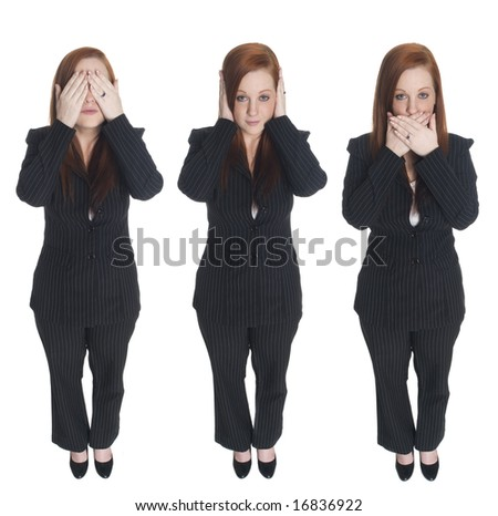 Isolated full length studio shot of a businesswoman in the Speak No Evil pose. - stock photo