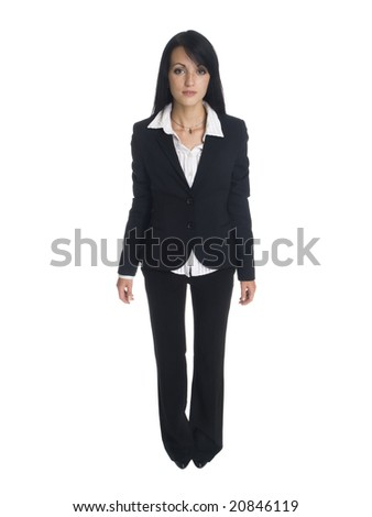 Isolated full length studio shot of a businesswoman rotating 360 degrees.