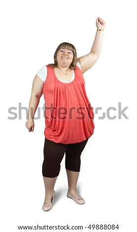 Isolated full length studio shot of a casually dressed large woman