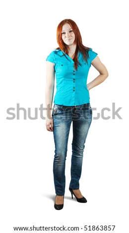 Isolated full length studio shot of a casually dressed young red-haired woman - stock photo
